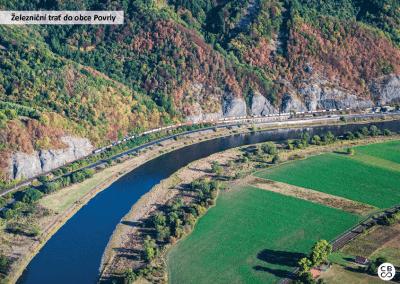 Železniční trať u obce Povrly
