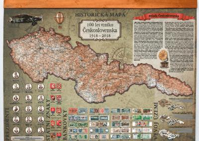 Nástěnná Historická mapa 100 let vzniku Československa s lištami na zavěšení
