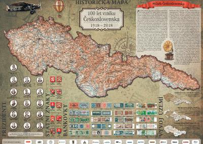 Historická mapa 100 let vzniku Československa - přední strana