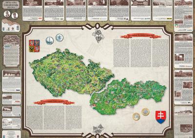 Historická mapa 100 let vzniku Československa - zadní strana
