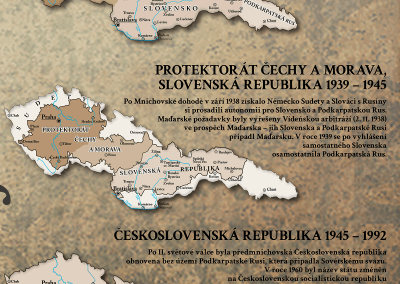 Historická mapa 100 let vzniku Československa - vývoj území