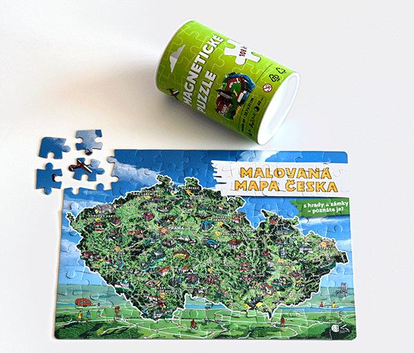 Magnetické puzzle - malovaná mapa ČR
