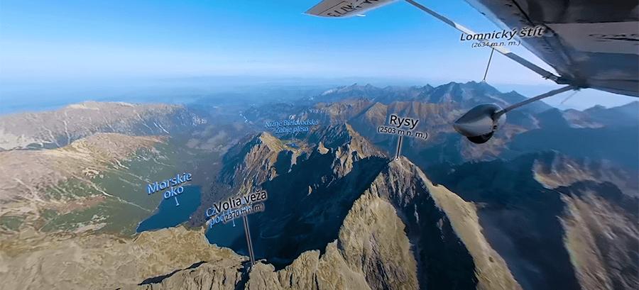 Vysoké Tatry z nebe - 360° virtuální video-mapa